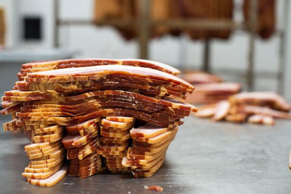 Sliced bacon from smokehouse