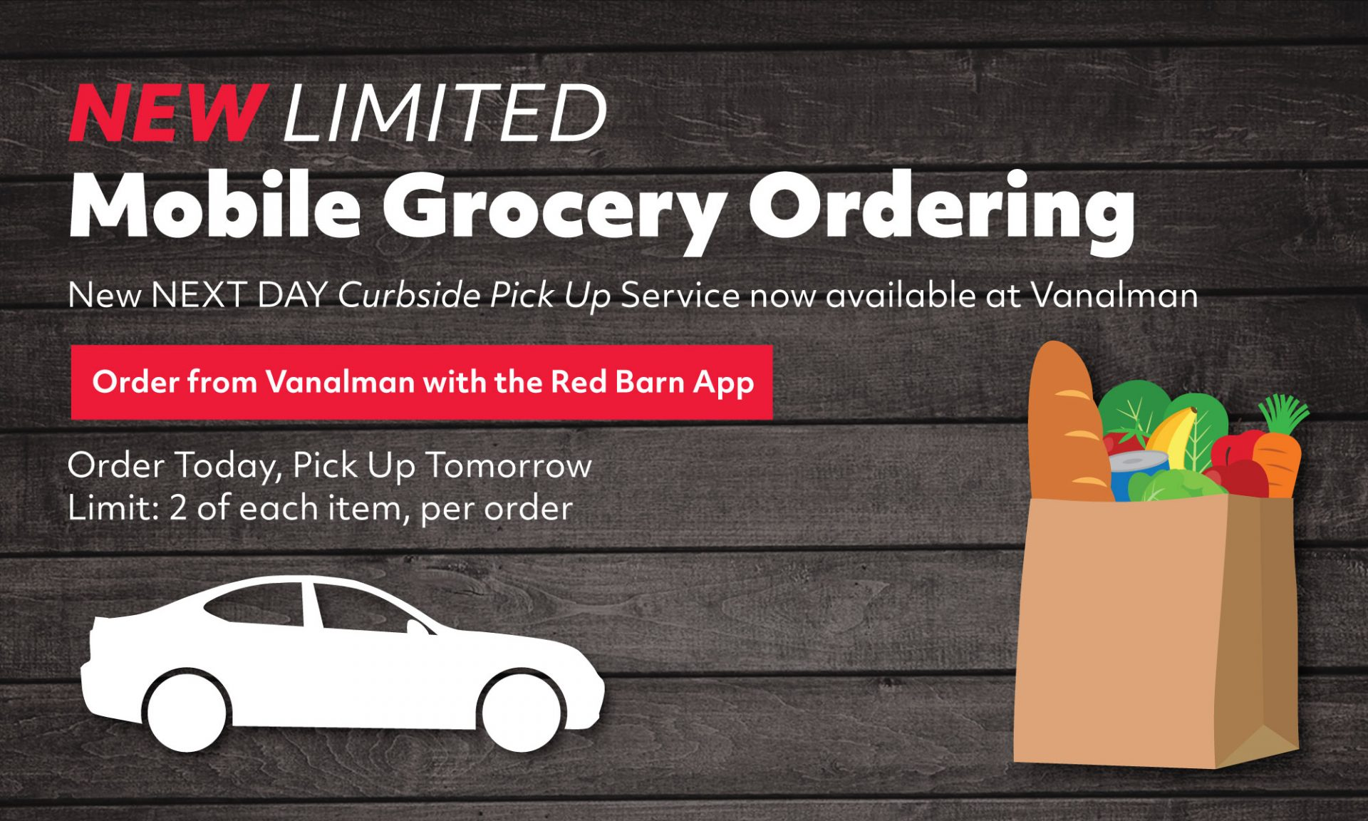 New Limited Mobile Ordering Service at Vanalman  Order Today, Pickup Curbside Tomorrow <br> Only at Vanalman<br>