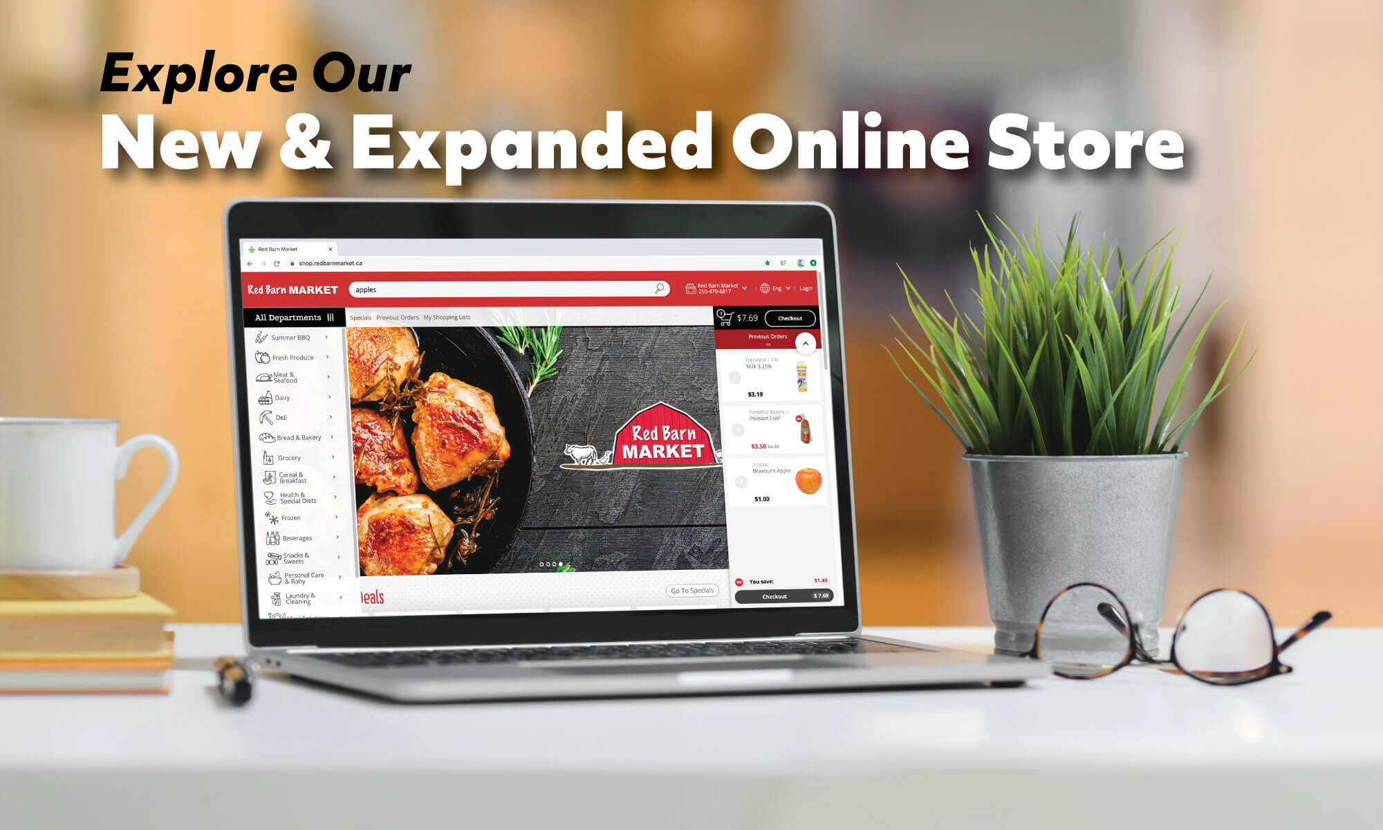 Explore Our New and Expanded Online Store 🛒Shop our Weekly Specials, explore a wider variety of Fruits and Vegetables, Red Barn Smokehouse Cheese and Meats, and hundreds of Grocery items.🍎<br /> <br /> Order your groceries when you want, up to 2 weeks in advance, and edit your cart any time.<br /> <br /> ⭐ Pick Up is currently only available at our Vanalman store location (751 Vanalman Ave). <br /> Contactless Curbside Pick Up service included.<br />