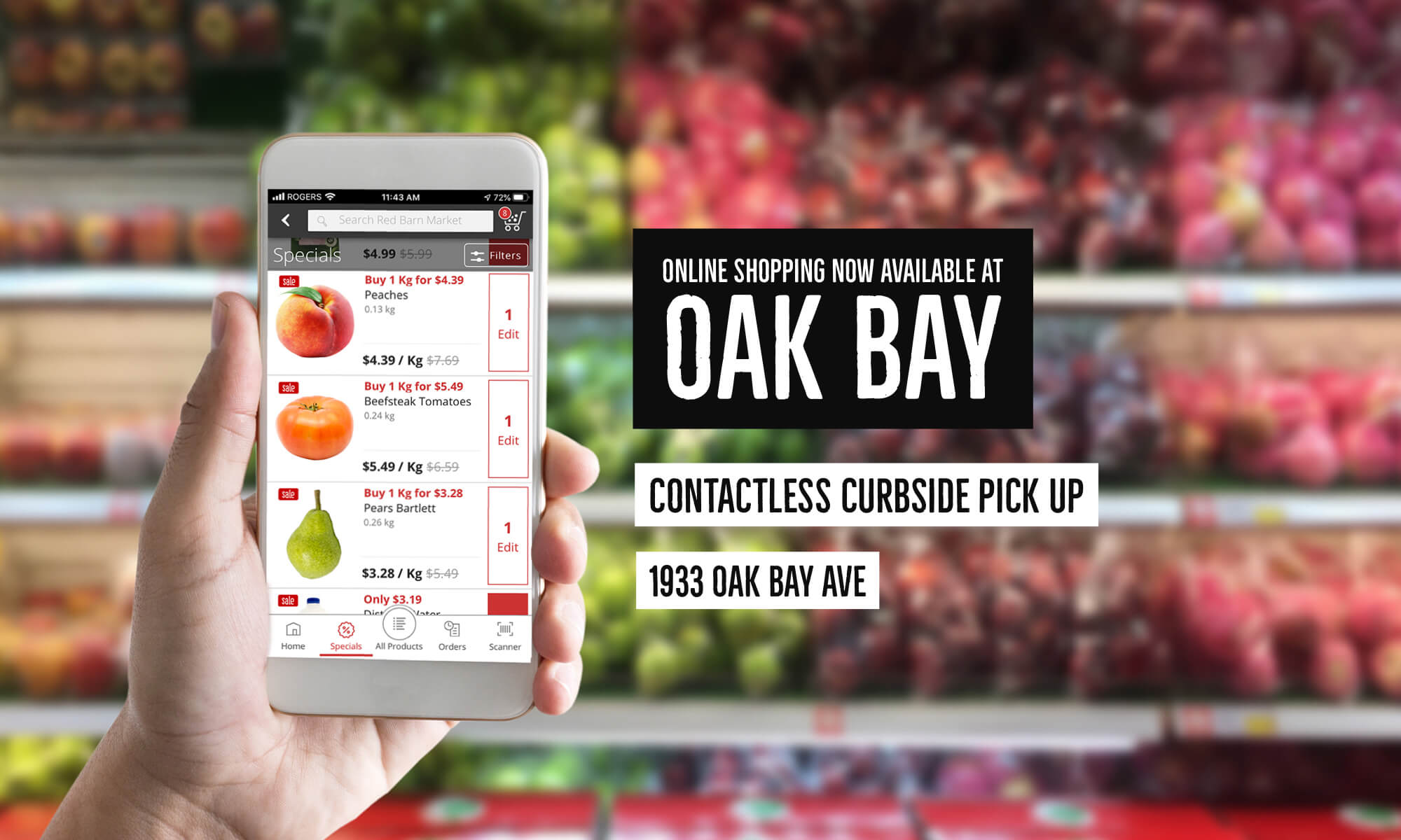 Shop Online and Pick Up at Oak Bay 🛒 Shop our Weekly Specials, explore a wider variety of Fruits and Vegetables, Red Barn Smokehouse Cheese and Meats, and hundreds of Grocery items.🍎<br />